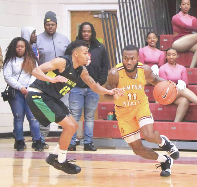 Central State junior guard Martin Oliver (11) led the Marauders with a game-high 18 points while hauling in a career-best 14 rebounds in a 65-60 win, Jan. 21 over Wilberforce University.
