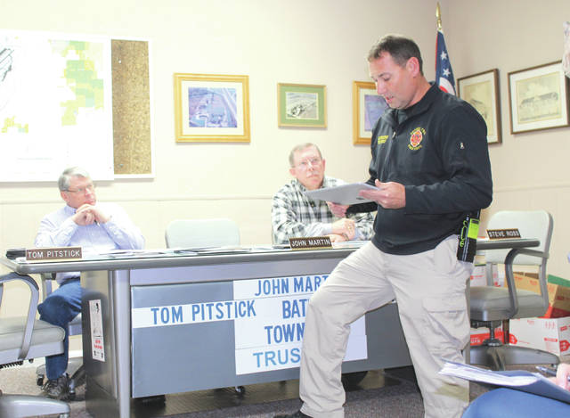 Linda Collins | Greene County News Bethel Township Fire Chief Jacob King shares information with Bath Township Trustees.