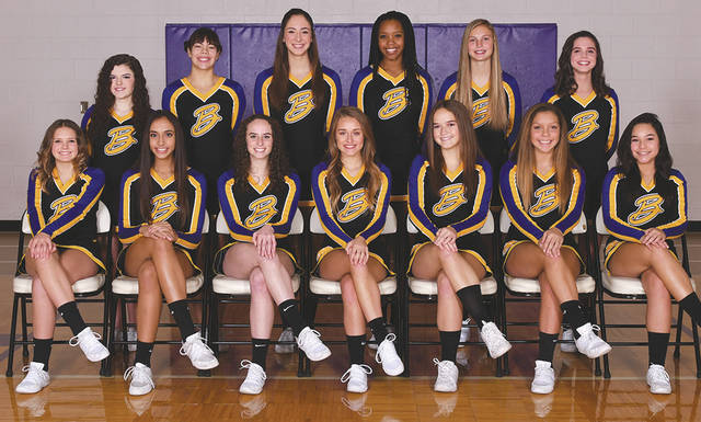 The state-bound Bellbrook High School competition cheerleading squad.