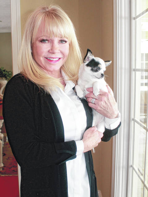 Anna Bolton | Greene County News Victoria Seiler-Cushman, pictured in her home with her Chihuahua, Audrey, will judge at the Westminster Kennel Club Dog Show Monday and Tuesday, Feb. 11-12. Seiler-Cushman is approved to judge 29 breeds across five groups and is on the board of directors of the Dayton Kennel Club.