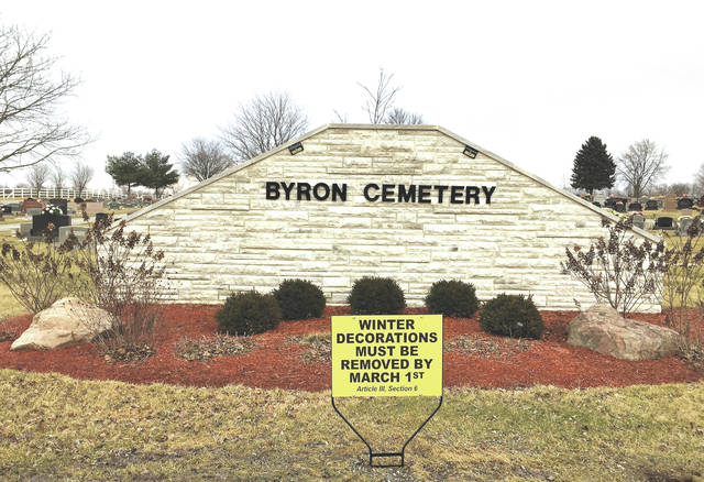 Linda Collins | Greene County News Township reopens Byron Cemetery and posts sign to remind patrons to remove winter decorations by March 1.