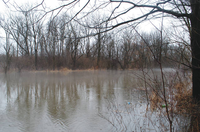 Whitney Vickers | Greene County News Rain and melting snow has contributed to flooding conditions at a local park in Fairborn.