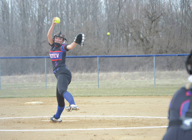Greeneview pitcher Alexa Simpson struckout seven Cedarville batters, scattered seven hits and walked one Indian in the Rams 20-5 run-ruled win, March 28 in Jamestown.
