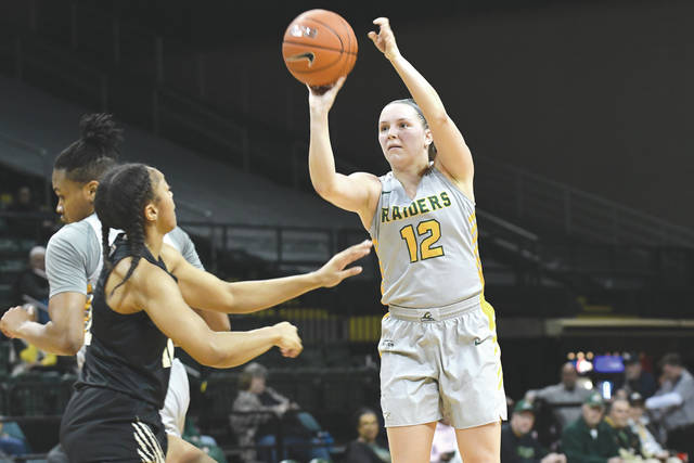 Wright State University senior guard Mackenzie Taylor (12) was voted to the All-Horizon League first team. The league champion Raiders take on Texas A&M at 4:30 p.m. Friday, March 22 in the opening round of the NCAA Women's college basketball tournament.