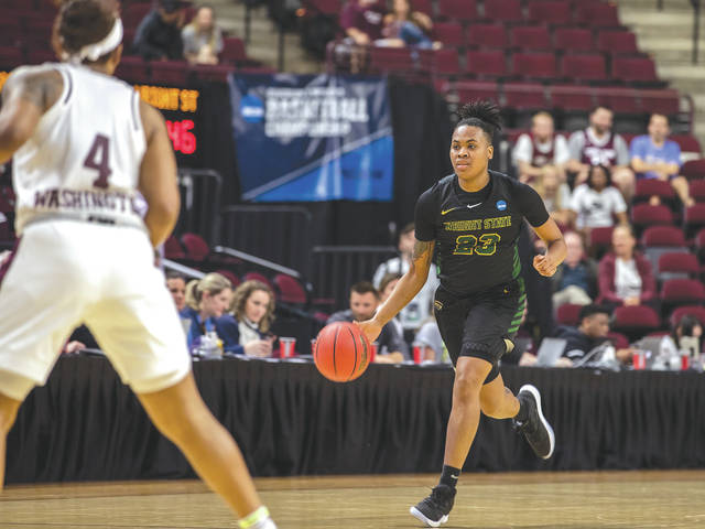 Wright State University senior Symone Simmons (23) hauled in a game-high 13 rebounds in the Raiders' 84-61 NCAA tournament first-round loss to Texas A&M, March 22 at Reed Arena, in College Station, Texas.