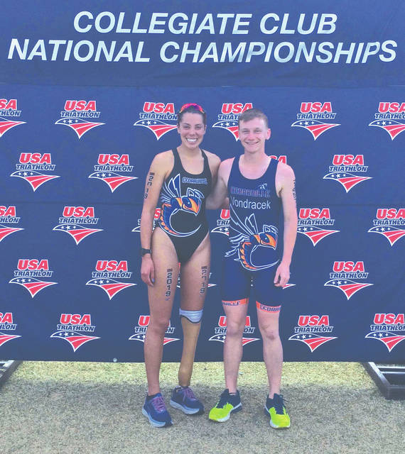 Cedarville University students Grace Norman (left) and Nolan Vondracek represented the school in the 2019 USA Triathlon Collegiate Club and High School National Championships, April 6 in Tempe, Arizona.