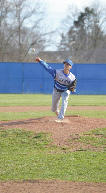 Buccaneers senior pitcher Blayne Dudley limited Huber Heights Wayne to five hits in seven innings of work, April 3, in an eighth-inning 6-4 loss at Xenia High School.