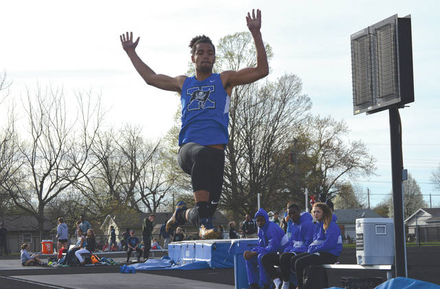 Xenia's Zack Gaither placed ninth in the boys long jump competition with a jump of 19 feet 1/4 inches, April 12 at the Doug Adams Invitational track and field meet.
