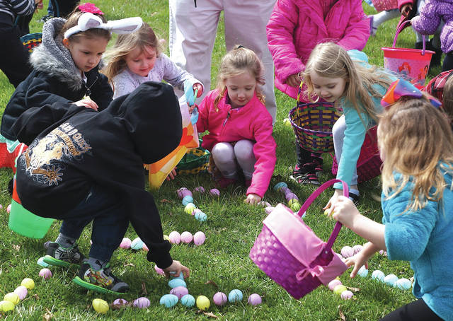 File photo The horn will sound at 2 p.m. Sunday, April 21, signaling the children to begin the egg hunt, at Central Park, 222 S. Central Ave.