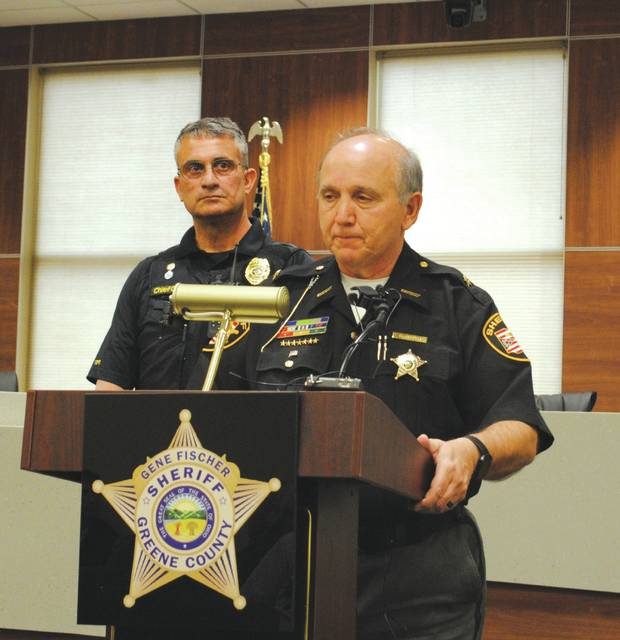 Whitney Vickers | Greene County News Greene County Sheriff Gene Fischer (right) and Yellow Springs Police Chief Brian Carlson (left) during a press conference April 17 to discuss a possible homicide investigation in Yellow Springs.
