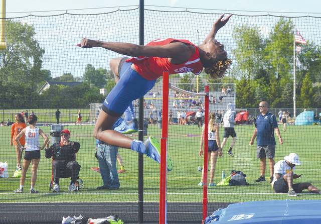 Carroll's Aaron Cooper placed fourth in the Division I boys high jump competition on Friday, May 17 at the Southwest District Track & Field Championships, held at Bellbrook High School.