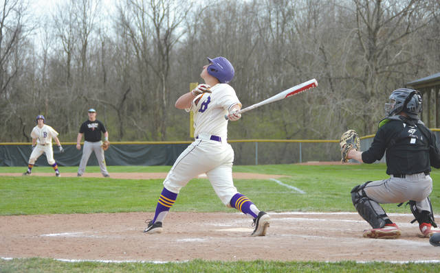 Golden Eagles sophomore Ethan Fryman fouls off a pitch in an April 10 game with Franklin. Bellbrook is a No. 6 seed in the Division II sectional high school baseball tournament.