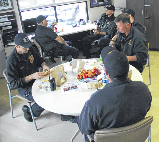Anna Bolton | Greene County News Local first responders stop for lunch April 30 at Greene Memorial Hospital. Mental Health & Recovery Board of Clark, Greene & Madison Counties hosted the event during the state-wide First Responder Appreciation Week.