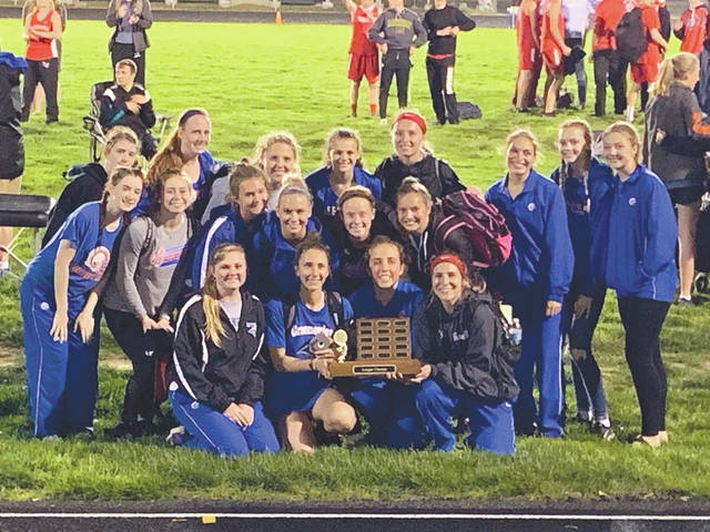 The Greeneview High School girls varsity track and field team won the Ohio Heritage Conference title for the third consecutive year, May 9 in Jamestown.