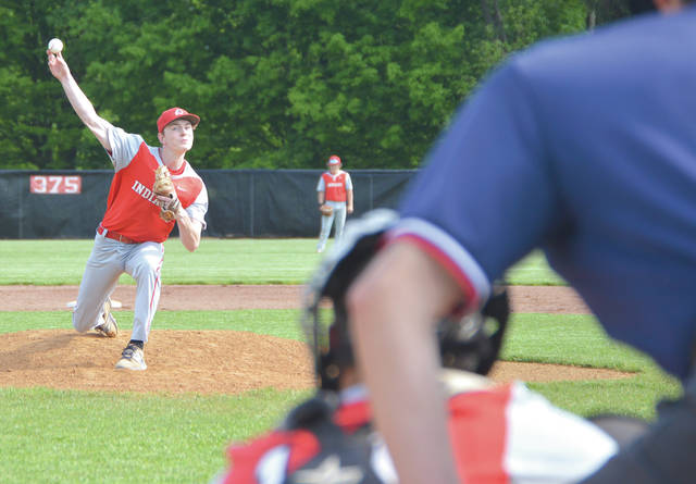 Cedarville starting pitcher Caleb McKinion recorded eight consecutive strikeouts to start the game, and had 13 for the game, May 15, in a Division IV sectional tournament game against Covington, in Cedarville.
