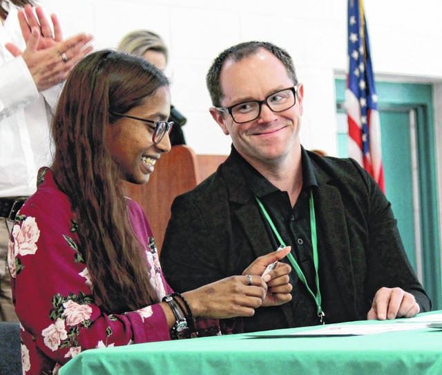 Anna Bolton | Greene County News Greene County Career Center Salutatorian Anjali Edwards commits to Wright State University, where she received a full tuition scholarship and will study neuroscience, at GCCC's first signing day May 7.