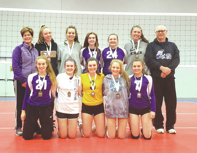The Club Magic 17U girls volleyball team placed third at the recent at the Ohio Valley Region Sports Imports Girls Junior Championships, held May 18 at the Greater Columbus Convention Center. Standing (left to right): Coach Sarah Roush, Gabby Turner (Beavercreek), Cassie Smithwick (Beavercreek), Lexi Gibson (Beavercreek), Sidney Ballweg (New Carlisle), Zoe Mason (Dayton), Coach Mike Roush. Kneeling: Sara Peterangelo (Fairborn), Megan Lencke (Riverside), Carly Cogan (Riverside), Katie Kennedy (New Carlisle), Mckenzie King (Centerville). NOT PICTURED - Injured: Darby Ballard (Fairborn); Megan Fahrenkamp (Centerville).