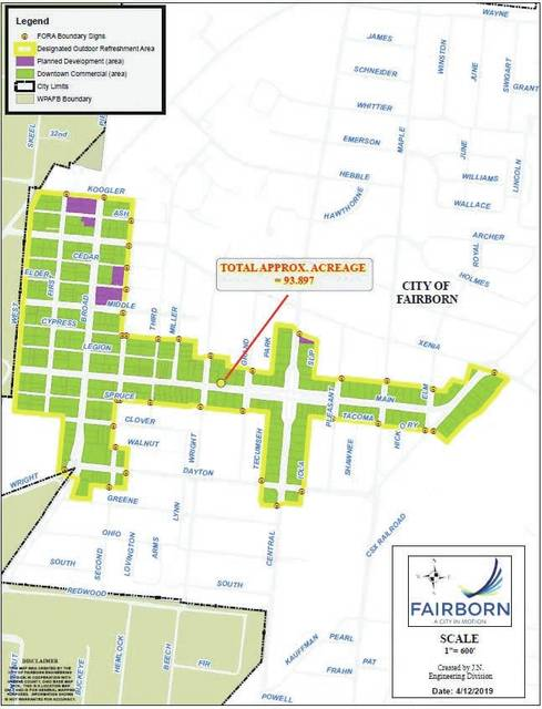 The FORA will be implemented within the downtown area of Fairborn. Signage will be place on every street where the FORA designation comes to an end.
