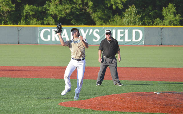 Xenia Scouts starting pitcher Garrett DeClue (4) fields a high bouncer back to the mound for an infield groundout in the third inning of Wednesday's Great Lakes Summer Collegiate League baseball game at Grady's Field, against the visiting Lima Locos.