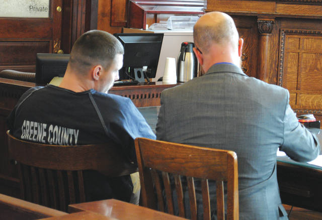 Whitney Vickers | Greene County News Defendant Dustin Cochran, beside Defense Attorney Griff Nowicki, is sentenced to 36 years in prison May 30.