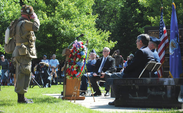 Whitney Vickers | Greene County News The National Museum of the United States Air Force hosted an event June 6 that commemorated the 75th anniversary of D-Day. The ceremony included a wreath laying to honor the sacrifices made by the men and women who served.