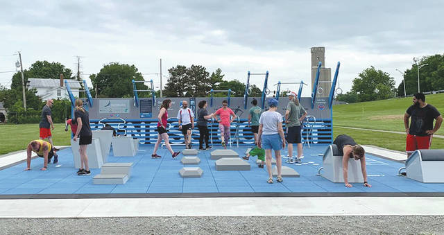 Submitted photos The City of Fairborn hosted a ribbon cutting June 10 to open a new fitness court at Central Park, 222 S. Central Ave.