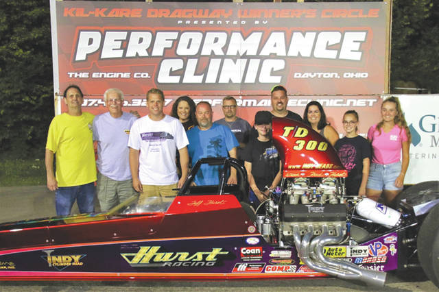 Brian Hurst and his team celebrates their 2018 JEGS Super Quick win during the Saturday race at Kil-Kare Raceway.