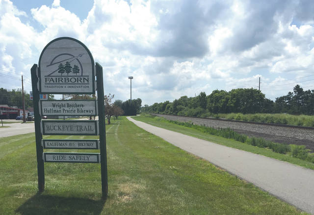 This sign welcomes you to Fairborn's bike trail of three names, from the north side of the Wright Brothers - Huffman Prairie Bikeway as you're heading south toward Huffman Dam.