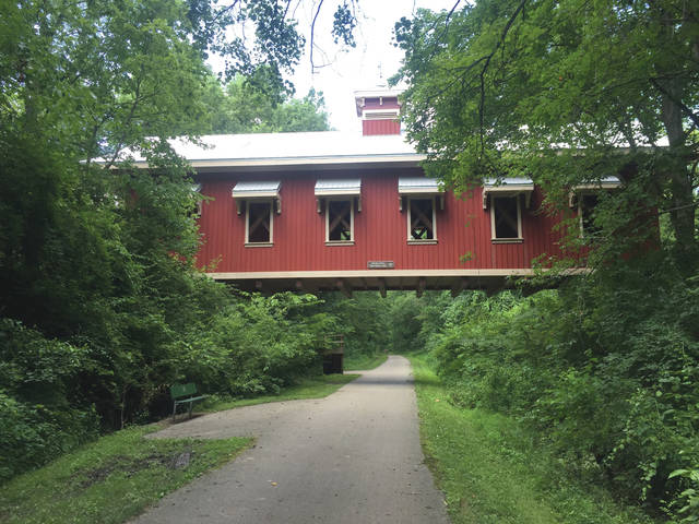 Roughly a mile and a half south of Yellow Springs, the Little Miami Trail passes under the East Hyde Road covered bridge.