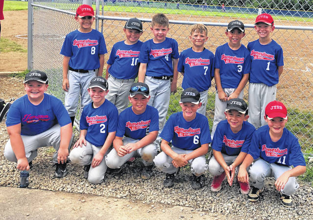 Submitted photos Jamestown Youth Softball Baseball hosted an all-star tournament July 6-7. The coach pitch 8U baseball team lost to team Rage, 8-7, in the first round of the six-team, three-bracket tournament. Pictured, front row (left to right) Brenden Bush, Blake Atley, Lane Timmons, Carson Moore, Chris Perez Jr., and Wyatt McKay. Back row (left to right) Avery Kubicki, Brantley Reed, Andrew Daymon, Wyatt Smith, Bryson Lovin, and Zavier Haines.