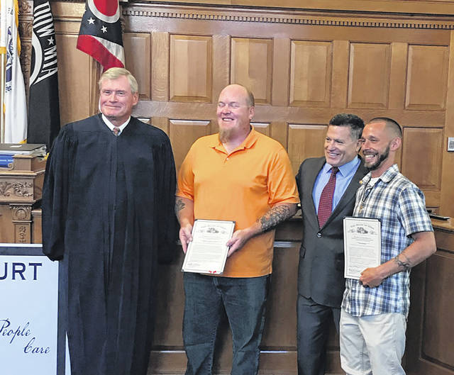The Greene County Veterans' Treatment Court recently held its first graduation ceremony in the courtroom of Judge Stephen A. Wolaver. Pictured left to right are Judge Wolaver, Herbert Smith, State Rep. Rick Perales, and Daniel Boasso.