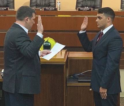 Submitted photos Nicholas Berry was sworn-in July 8 to serve as the Fairborn Fire Department's newest firefighter.
