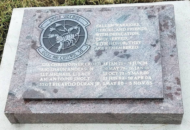 Submitted photo The 603rd ACS memorial at the Memorial Gardens, National Museum of the United States Air Force.