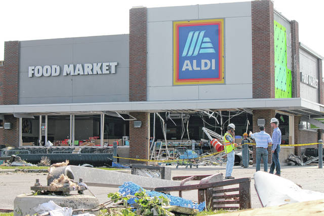 File photo Damage assessment and cleanup begins at the Beavercreek ALDI, 2451 Lakeview Drive, May 28, the morning following the Memorial Day tornadoes.