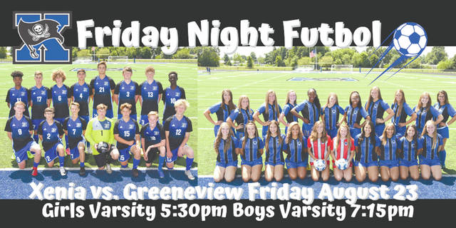 Xenia will host Greeneview in a pair of high school soccer matches on Friday, Aug. 23 at Doug Adams Stadium.