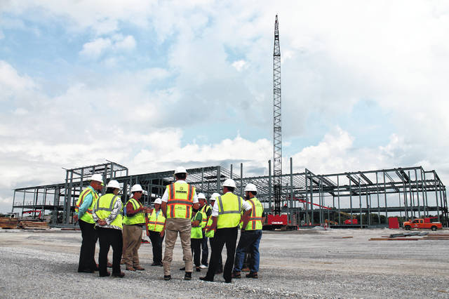 Anna Bolton | Greene County News School leaders meet with Shook Construction officials Aug. 1 to tour the new Greene County Career Center facility site, which is located off U.S. Route 35, near U.S. Route 68 and Union Road.