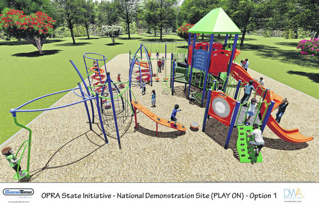 Photo illustration courtesy GCP&T Shown are renderings of the playground project that is set to be completed later this year at Fairgrounds Recreation Center.