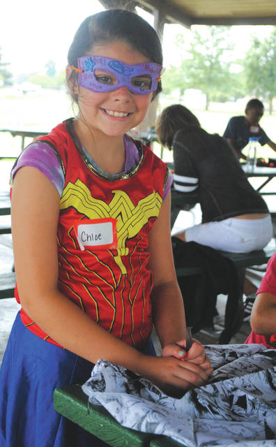 Whitney Vickers | Greene County News The Fairborn Parks and Recreation Department is hosting a number of youth summer camps throughout the season. It hosted a superhero-and-villain-themed summer camp Aug. 6, inviting young heroes and villians to play, create crafts and more among Community Park.