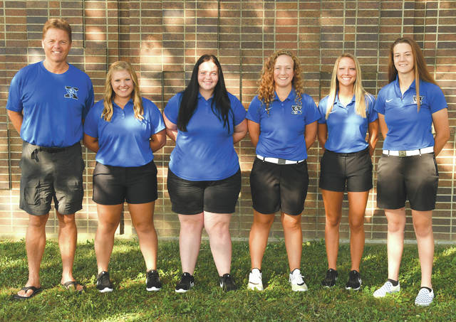 The 2019 Xenia High School girls varsity golf team won the school's first-ever league title on Saturday, Sept. 28, when they won the inaugural Miami Valley League tournament at Beechwood Golf Course, Arcanum. Team members are (left to right): Coach Kent Anderson, Darby Nolen, Stacie Baxley, Brynna Mardis, Grace Bond, and Olivia Wagner.