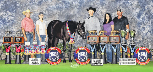 "Larry Williams Photography Horse trainer Mike Tivoli, Autumn McCann and horse trainer Kenny Lakins join Heather and Brett Caplinger, along with Best By Design, or ""Griffin,"" at the National Snaffle Bit Association World Championship Show in Tulsa, Okla. in August."