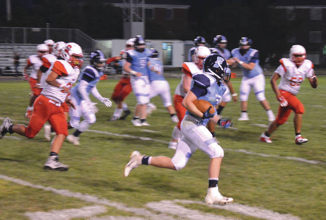 Fairborn's Gage Barron (7) shown on an early first-half run, led the Skyhawks in rushing with 147 yards gained on 14 carries, in Friday night's 32-14 win over Stebbins at Memorial Stadium.