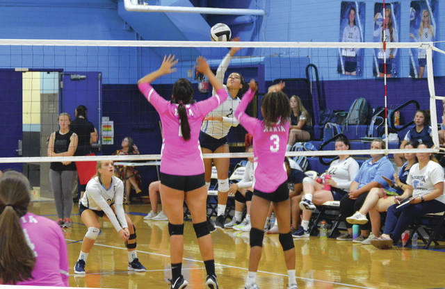 Hani Sampson (2) led the Skyhawks with 10 kills and a serving ace in Fairborn's girls varsity high school volleyball win Sept. 12 over visiting Xenia.
