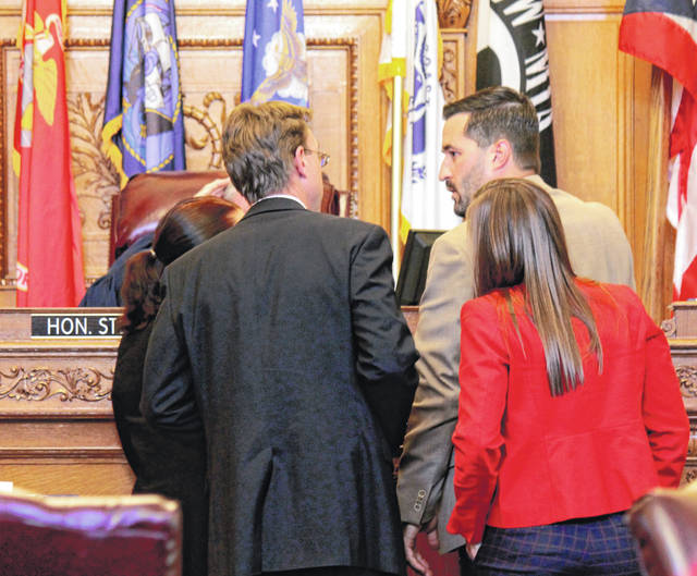 Anna Bolton   Greene County News Assistant Prosecutors Cheri Stout and David Morrison along with Defense Attorney Adam Arnold and counsel approach Judge Stephen Wolaver Sept. 24.