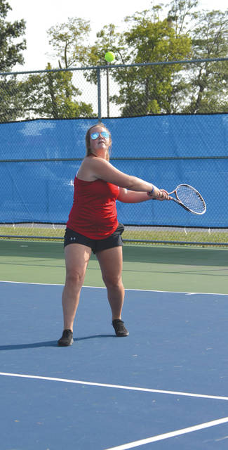 Tori Chaney moved up to play first singles for Greeneview in Wednesday's girls varsity tennis match against visiting Xenia. Chaney won her match, 6-2, 6-0 as the host Rams claimed a 5-0 win.