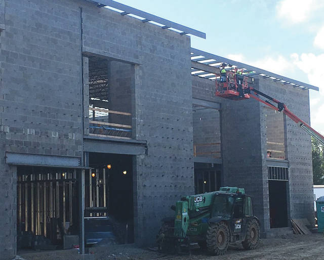 Submitted photos Fairborn Primary School construction is on-time and on-budget, according to Fairborn City Schools. The walls are up and the roof is beginning to go up. Construction is expected to be completed in summer 2020.