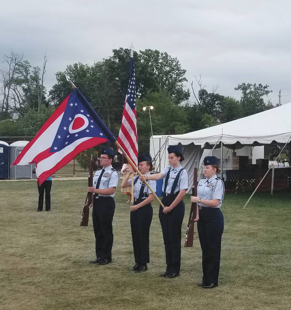 Submitted photos Major (retired) Erik Fricsons, a 1988 graduate of Butler High School, brought his Fairborn High School Air Force Junior ROTC students over to kick off Vandalia Oktoberfest 2019.