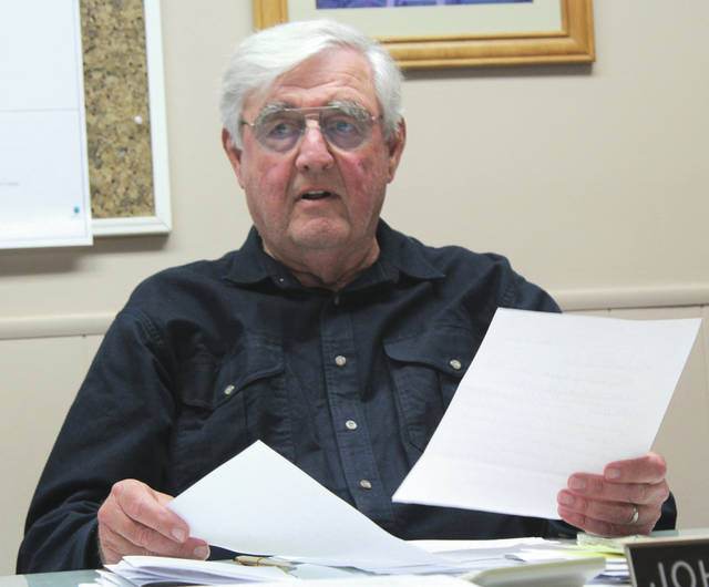 Linda Collins | Greene County News Bath Township Trustee John Martin submits his letter of resignation to the board of trustees. He is retiring as of Oct. 31.