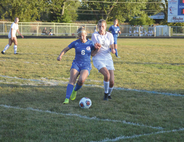 Greeneview sophomore forward Kelsi Eakins (6) outraces Catholic Central's Lauren Stannard for the ball, during the first half of Thursday's girls high school varsity soccer match at Don Nock Field in Jamestown.