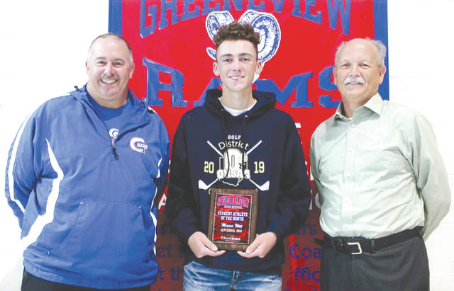 Mason Witt was chosen as the Edward Jones Investments Athlete of the Month for September for Greeneview High School. This award is being sponsored by the office of Mike Reed at Edward Jones Investments of Xenia, serving Xenia, Jamestown, Cedarville and surrounding areas. A junior on the golf team, Witt has verbally committed to Xavier University for golf. He won the Ohio Heritage conference tournament, and led the Rams to an OHC South Division title for the second year in a row. Also, Witt tied his own school record for nine-hole score shooting a 32 at both Locust Hills and Liberty Hills. The team set the nine-hole team record shooting a 149 at Locust Hills. He was the medalist at Sectionals and Districts, and then capped it all off with a Division II STATE CHAMPIONSHIP.