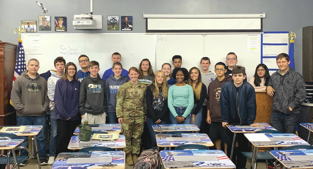 Submitted photos Betsy Scarberry, a Class of 2007 Fairborn High School graduate who also participated in the AFJROTC program, paid a visit to current students.